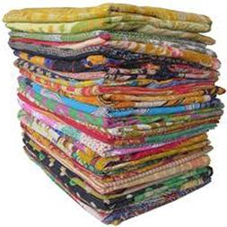 10 Pieces Mix Lot of Indian Tribal Kantha Quilts Vintage Cot