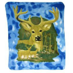 10 Pointer Deer Fleece Throw Blanket 60 Inches X 50 Inches B