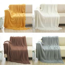 100% Acrylic Knitted Throw Blanket Soft Couch Bed Warm Solid