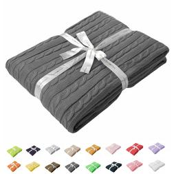 100% Cotton Cable Knit Throw Super Soft Warm Multi Color Bla