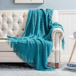 Bedsure 100% Acrylic Knit Throw Blanket 50×60 Inch - Soft W
