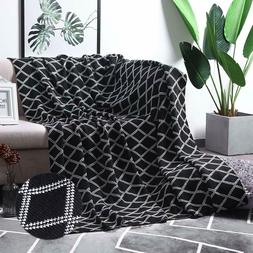 100% Cotton Black Cable Knit Throw Blanket for Couch Bed Sof