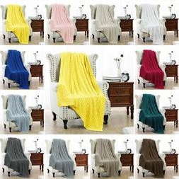 100% Cotton Cable Knit Knitted Throw Blanket Large Sofa Bed