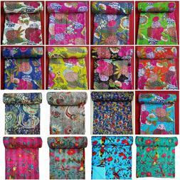 100% Cotton Kantha Quilt King/Twin Size Bedspread Blanket De