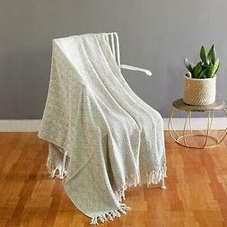 100% Cotton Light Grey Cable Knit Throw Blanket for Couch Be