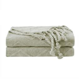 100% Cotton Soft Knitted Wave Pattern Decorative Throw Blank