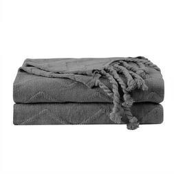 100% Cotton Soft Knitted Wave Pattern Throw Blanket w Tassel