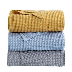 Bedsure 100% Cotton Thermal Blanket Throw Waffle Weave Blank