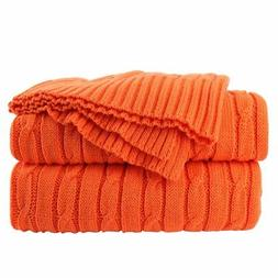 uxcell 100% Cotton Throw Blanket Textured Solid Cable Knit T