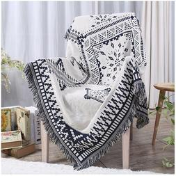 100% Cotton woven Blanket 2-side color knitted sofa slipcove