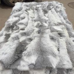 100% Genuine Rabbit Fur Throw Patchwork Blanket Winter Soft