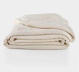 100% Organic Chenille Herringbone Natural Color Blanket Thro