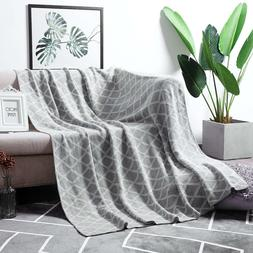 100%  Cotton Light Grey Cable Knit Throw Blanket for Couch B