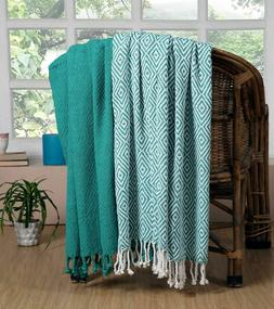 Luxury 100% Cotton All Season Soft Throw Blanket Diamond 50'
