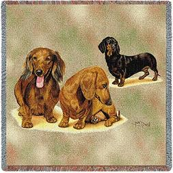 Pure Country Weavers - Dachshund Puppies Woven Throw Blanket
