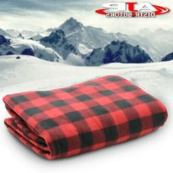 12V Heated Electric Fleece Black Red Checkered Blanket Car T