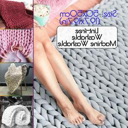 20x20in Handmade Chunky Knitted Blanket Throw Carpet Soft Ba