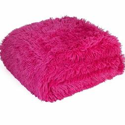 "Berkshire 280GSM Fluffie Throw blanket 50""x60"" Pink"