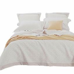 NTBAY 3 Layers Washed Cotton Woven Jacquard Coverlet Throw B