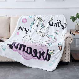 Unicorn Blanket Cartoon Velvet Plush Throw Floral Printed Be
