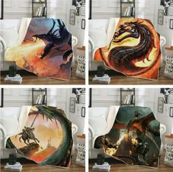 3D Sherpa Blanket Sofa Couch Quilt Cover Throw Fleece Dragon