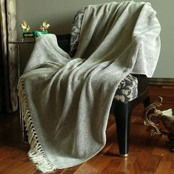 "50 x 60"" Brown Handmade Cotton Throw Blanket Woven Soft And"