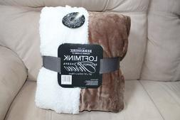 "50"" x 70"" Reversible Soft Faux Mink / Sherpa Texure Blanket"