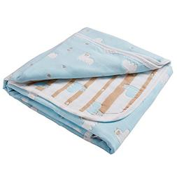 6 Layers of 100% Organic Muslin Cotton Toddler Blanket with