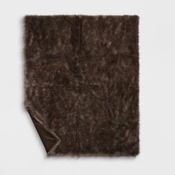 "Threshold 60"" x 50"" Faux Fur Throw Blanket, Brown"