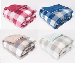 "Berkshire Blanket 60""x 70"" Plaid Faux Fur Reverse to Sherpa"