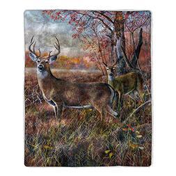 Lavish Home 64-Deer Sherpa Fleece Blanket, Print