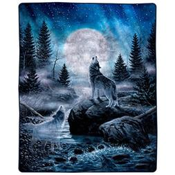 Lavish Home 66-B-Wolf Heavy Fleece Howling Pattern-Plush Thi