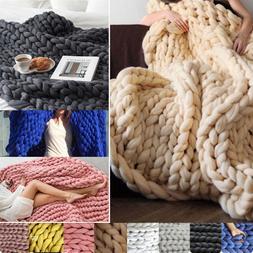6CM Chunky Knit Blanket Thick Merino Wool Handmade Arm Knitt