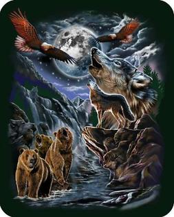 7 Hidden Wolves & Wildlife Polyester Blanket