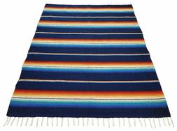 #776 Blanket Throw Sarape Bed Cover Navy Mexico Beach Yoga M