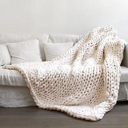 80×100cm Chunky Giant Knit Thick Yarn Blanket Bulky Knit Ex