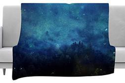 KESS InHouse 888 Design Night Forest Blue Black Fleece Throw
