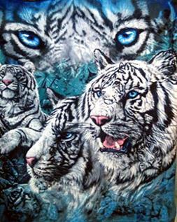 9 White Tigers Throw Blanket - Decorative Fleece Blanket