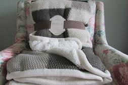 BERKSHIRE THROW BLANKET KNIT SHERPA SHADES OF IVORY AND OLIV