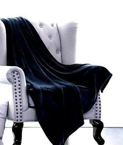 BLACK SOLID VERSATILE SUPER SOFT WARM MICROPLUSH SMALL THROW