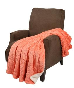 BOON Embroidery Batik Sherpa Throw Blanket Couch Coverlet Co