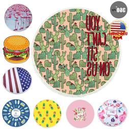 Beach Summer Pool Picnic Mat Round Beach Throw Towel Blanket