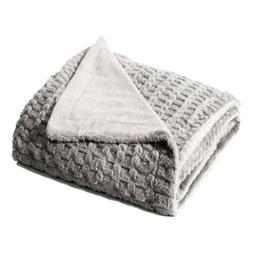 Bedsure Faux Fur Fleece Throw Blanket 60x80 Grey Rustic Home