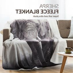 Bedsure Elephant Sherpa Blanket Animal Bedding Reversible Bl