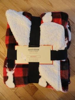 Berkshire Home Throw Blanket Plush Fleece Red Black Deer Sta