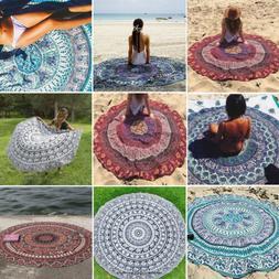 Bohemian Mandala Tapestry Round Blanket Beach Picnic Yoga Ma