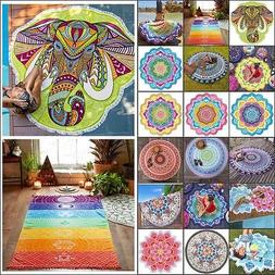 Boho Tapestry Beach Throw Towel Mandala Round Indian Hippie