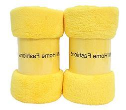 J&M Home Fashions Bright Fleece Throw Blanket 50x60, Set of