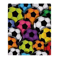 CafePress - Colorful Soccer Balls - Soft Fleece Throw Blanke