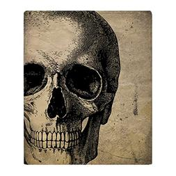 "CafePress Vintage Skull Soft Fleece Throw Blanket, 50""x60"" S"